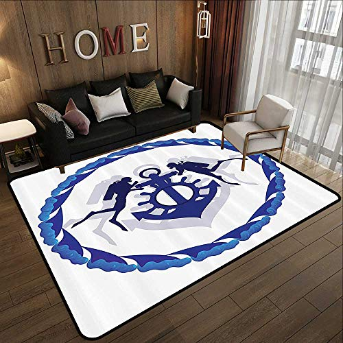Contemporary Synthetic Rug,Anchor Decor Collection,Group of Divers and EAN Anchor with The Steering Wheel Abstract Waves Frame Image,Navy Blue Whit 47