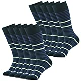 Wedding Groom Socks, SUTTOS Mens Classic Black Striped Design Mid Calf Gift Sock Gifts Socks,10 Pairs