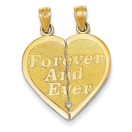 Réversible 14 carats Forever and Ever Break apart-Pendentif en forme de cœur-Dimensions :  38,8 JewelryWeb - 46,8 x mm