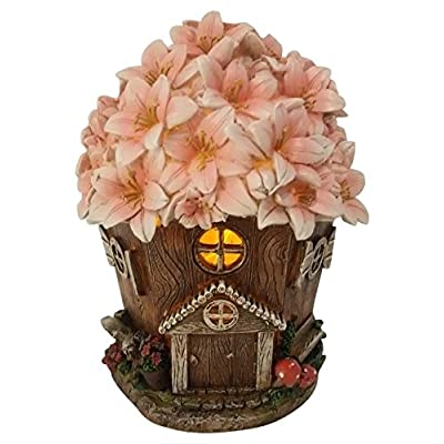 Fairy Garden House with Pink Floral Roof and Solar LED Light: Garden & Outdoor