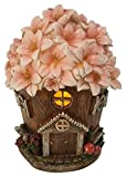 Fairy Garden House with Pink Floral Roof and Solar LED Light