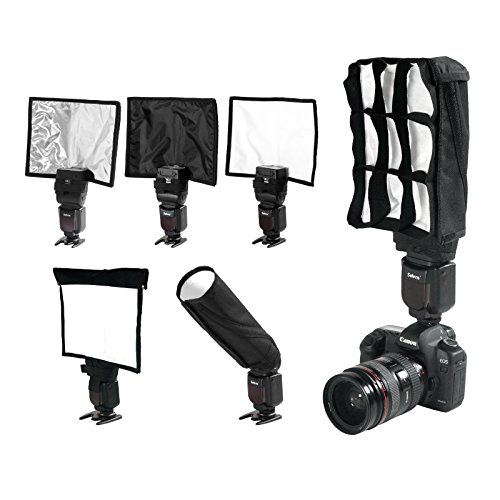 Mekingstudio Flash Bender 5-in-1 Foldable Speedlight Flash Diffuser Reflector Kit - Bend Bounce Positionable Diffuser + 2 reflector + Honeycomb Grid + Carrying bag for Canon Nikon Yongnuo and more by Mekingstudio