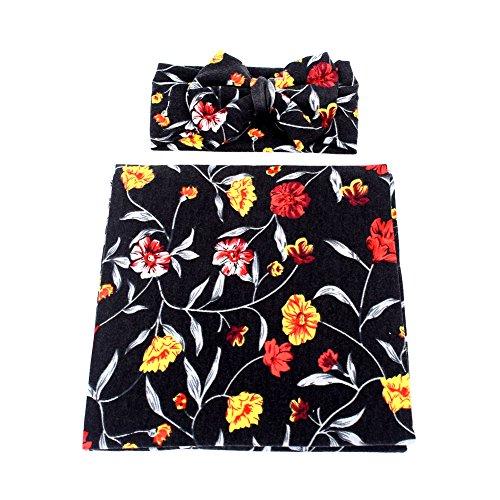 Galabloomer Newborn Receiving Blanket Headband Set Flower Print Baby Swaddle Receiving Blankets Black ()