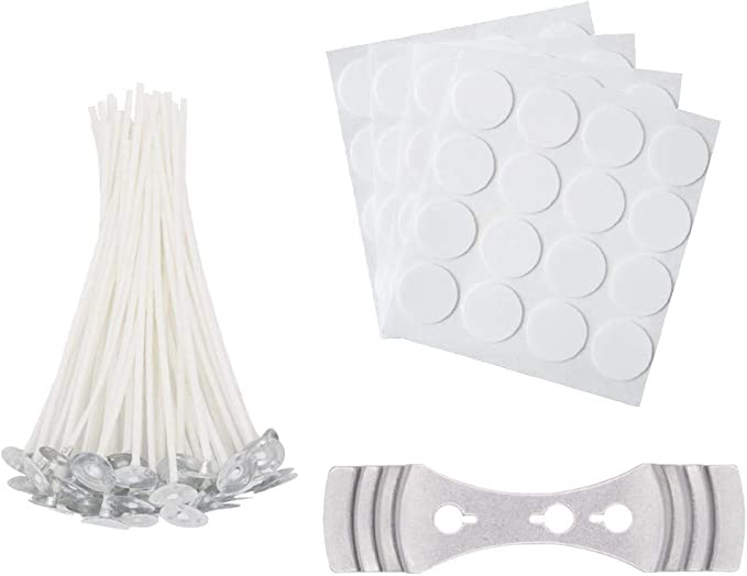 4 inch Candle Making Kit 64 Pieces Cotton Candle Wicks with Candle Wick Stickers and Centering Device for Candle DIY