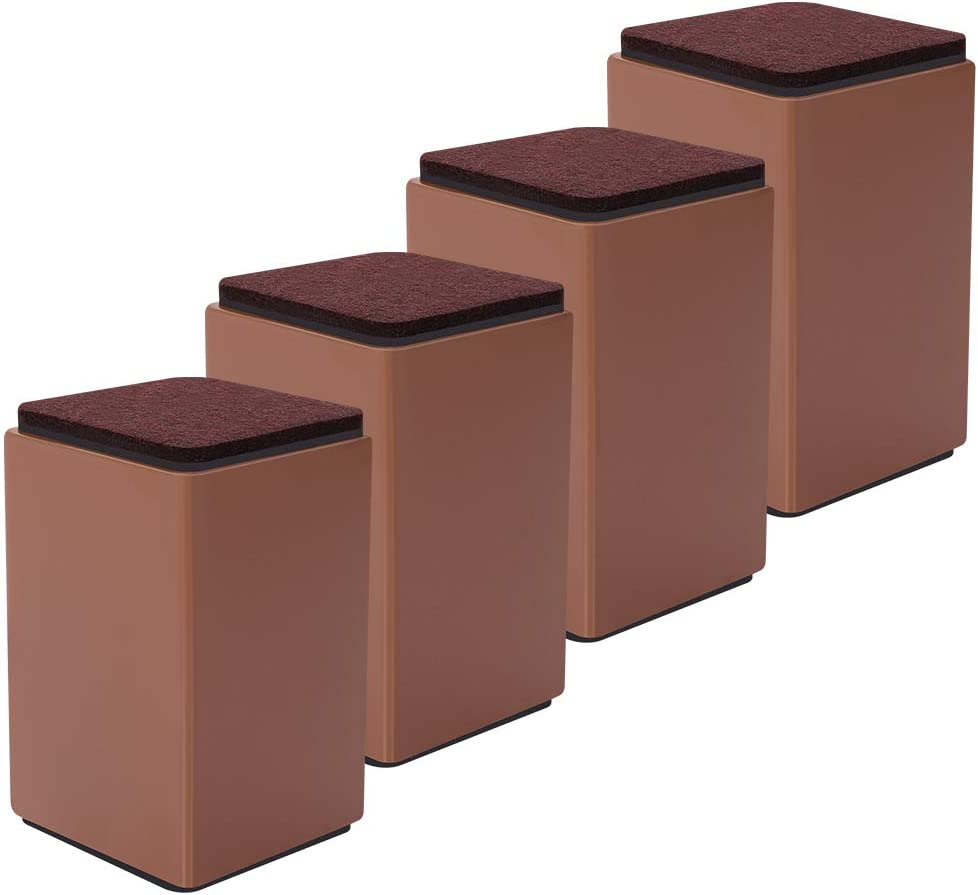 """4 Packs Bed Furniture Risers - Lifts Height 4"""" - Heavy Duty Solid Steel Risers for Sofa, Table, Chair with Non-Slip Bottom Felt Pad, Protect Floors and Surfaces, Square Brown"""