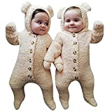 KIDDAD Infant Winter Snowsuit Baby Bear Romper Outfit Fleece Bunting Suit Outerwear Coat Jumpsuit Size 0-6Months/Tag70 (Biege)