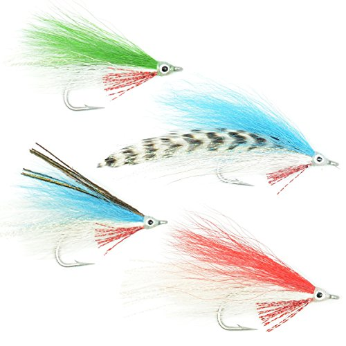 The Fly Fishing Place Lefty's Deceiver Fly Fishing Flies Collection - Assortment of 4 Saltwater and Bass Flies - Hook Size 1/0
