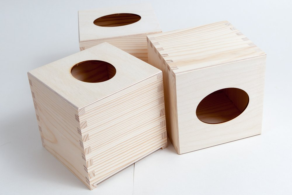 3 PCS Wooden Tissue Box Cover, Square, Wood, Plain / ART CRAFT DECOUPAGE/ BEST PRICE FROM WOODENLAND
