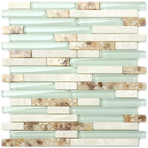 Beach Style Glass Tile Mother of Pearl Shell Resin Kitchen Backsplash Green Lake White Stone Interlocking Art Tile TSTMGT084 (11 PCS [12'' X 12''/Each]) ()