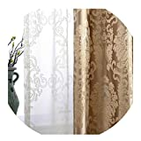 momolove European Damask Curtains for Living Room Luxury Jacquard Blind Drapes Window Panel Fabric Curtain for Bedroom,Coffee,W100cmxL215cm,Hooks
