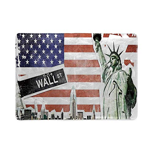 American Flag Decor Utility Notebooks,NYC Collage with Famous Monuments Wall Street and Manhattan Urban Display for Work,5.82