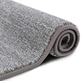 Lifewit Indoor Doormat Super Absorbent Water Low-Profile Mats Machine Washable Non Slip Rubber Entrance Rug for Front Door Inside Dirt Trapper Mats Shoes Scraper - Grey, 24' x 35'