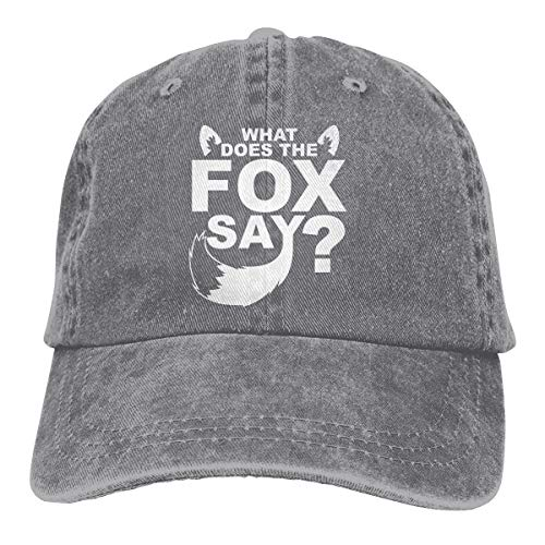 What Does The Fox Sake Say Retro Jean Fabric Adjustable Sports Outdoor Baseball Cap Gray