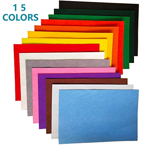 15PCS Assorted Colors Adhesive Felt Fabric Sheets,15 Colors A4 Size Fabric Sticky Back Sheet,8.3 by 11.8 Inch for Art,Craft Making,Self-Adhesive