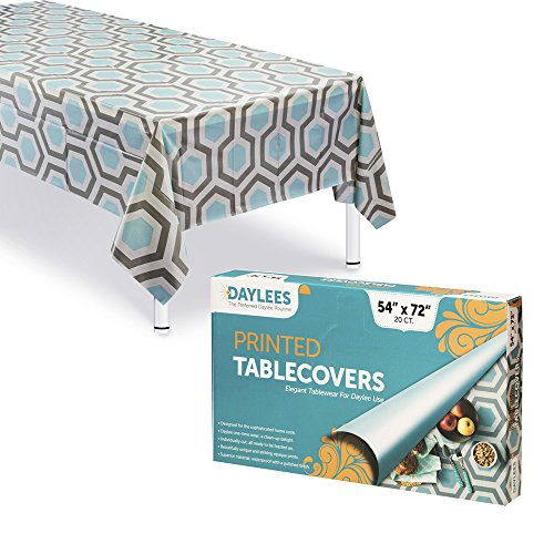 Disposable Plastic Tablecloths | Size 54 X 72 Inches | 20 Count | Turquoise Grey and Ivory Geometric Design | Covers a 5 Foot Rectangle Picnic Party Table | Many Sizes Available