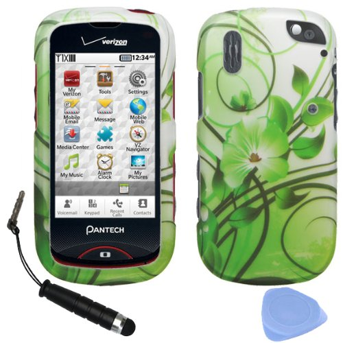 (4pcs Combo: Phone Case + LCD Screen Protector Film + Stylus Pen + Case Opener) Silver Green Hawaiian Flower Vine Design Rubberized Snap On Hard Cover Protector Faceplate Skin Case for Verizon Pantech Hotshot 8992 ()