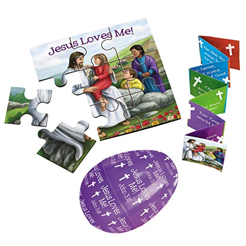 Jesus Loves Me Plastic Easter Eggs with Puzzle, Pack of 4