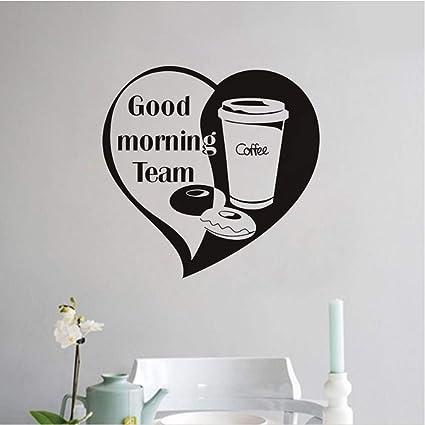 Ysfu Wandsticker Guten Morgen Team Kaffee Wandaufkleber