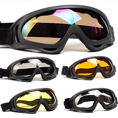 Peicees 5 Pack Ski Goggles Winter Snowboard Adjustable UV 400 Protective Motorcycle Snow Goggles Outdoor Sports Tactical Glasses Dustproof Military Sunglasses for Kids Boys Girls Youth Men Women ()