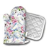 Beautiful White Swan Pink Flower Kitchen Cotton Coating Oven Mitts Heat Resistant Potholder Gloves Microwave Oven Glove