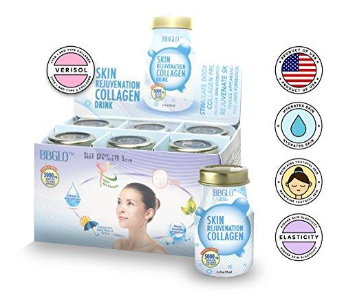 Skin Drink Eye - BBGLO® Skin Rejuvenation Collagen Drink (Original) - Anti Aging Complex, 2.4 fl. Oz., Pack of 6 Glass Bottles