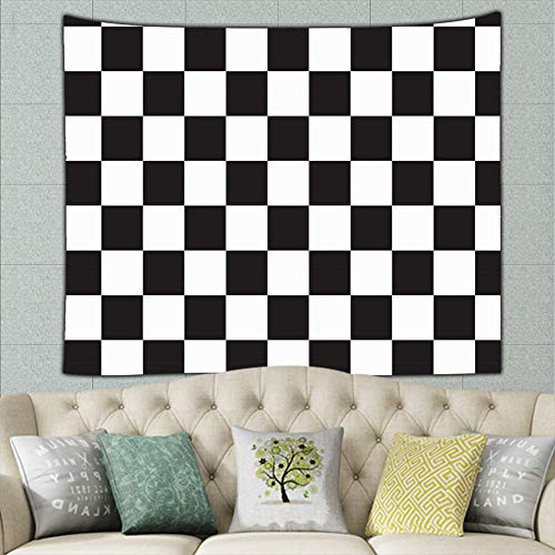 zuo chunhong5 Black White Racing Checkered Checker Tapestry Wall Hanging, Wall Tapestry with Art Nature Home Decorations for Living Room Bedroom Dorm Decor 50ʺ × 60ʺ