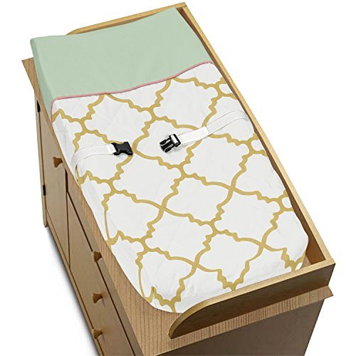 Sweet Jojo Designs Ava Mint Coral White and Gold Trellis Baby Changing Pad Cover