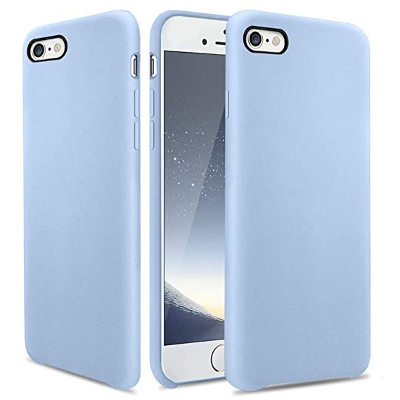cheap for discount 8c5eb 1ded4 iPhone 6s Case, OCYCLONE [Ultra-Thin Series] Liquid Silicone iPhone 6 6s  Case Rubber Shockproof with Soft Microfiber Cloth Cushion Blue Slim Fit for  ...