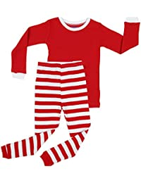 Elowel Boys Girls Christmas Striped 2 Piece Kids Pajamas...