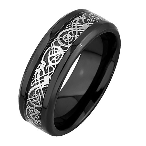 MRing 8mm Black Titanium Silver Dragon Celtic Pattern Beveled Edges Rings Silver Carbon Fibre Wedding Band Jewelry Ring (10) (Celtic Protection Ring compare prices)