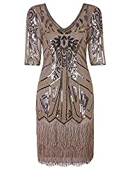 Beige 1920s V Neck Beaded Tassel Cocktail Dress With Sleeves