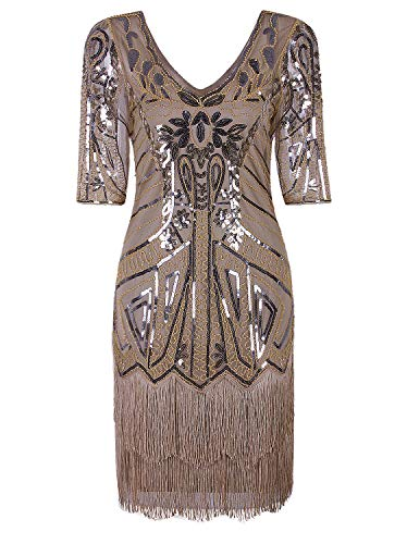 VIJIV Women's Short Flapper Dress 1920s Gatsby Vintage Plus Size V Neck Beaded Art Deco Tassel Roaring 20's Dresses with Sleeves Beige