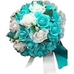 SODIAL(R) Artificial Foam flower Bouquet Foam Roses Wedding Bouquet Bridal Bouquet Lace Decoration Natural Pearls Wedding Flowers White & Teal blue