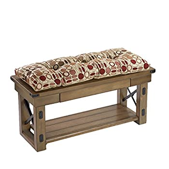 """36"""" Extra Thick Geometric Patterned Non Slip Bench Pad Cushion"""