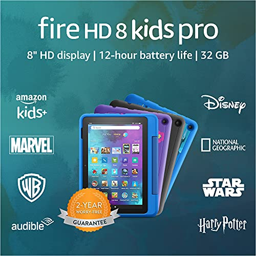 New: Fire HD 8 Kids Pro tablet | for ages 6-12 | 8″ HD, 32 GB | Doodle Kid-Friendly Case