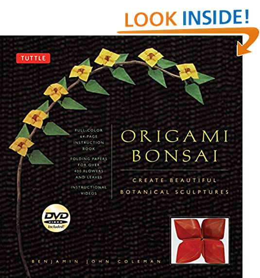 Origami flowers amazon origami bonsai kit create beautiful botanical sculptures includes origami book with 14 beautiful projects 48 origami papers and instructional dvd mightylinksfo