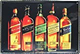 Johnnie Walker, Whiskey Metal Tin Sign, Vintage Style Wall Ornament Coffee & Bar Decor, Size 8 X 12