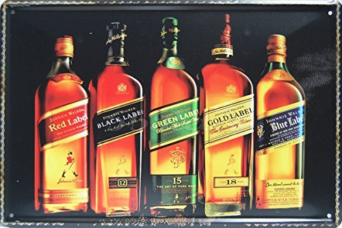 (Johnnie Walker, Whiskey Metal Tin Sign, Vintage Style Wall Ornament Coffee & Bar Decor, Size 8
