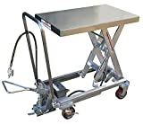 Air Scissor Lift - BAIR-D Series; Construction: Partially Stainless Steel; Platform Size (W x L): 20'' x 35-1/2''; Capacity (LBS): 800; Service Range: 13-3/4'' to 51''; Caster Size: 5'' x 1-1/2''