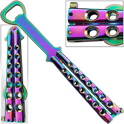 Titanium Bartender Bottle-Fly Knife Trainer Bottle Opener Flip-flop Balisong