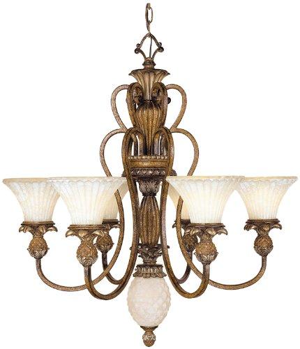 (Livex Lighting 8456-57 Savannah 6 Light Venetian Patina Chandelier with Vintage carved Scavo Glass)