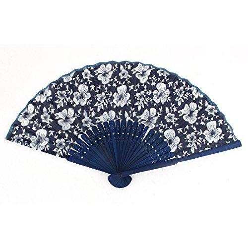 DealMux Women Ladies Wooden Flower Pattern Chinese Style Folding Hand Fan Blue