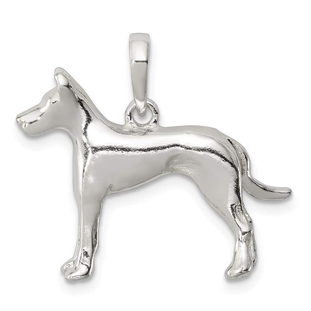 0.75 in x 0.94 in Jewel Tie Sterling Silver Great Dane Pendant