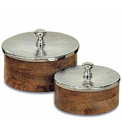 WHW Whole House Worlds Crosby Street Rustic Round Decorative Boxes, Set of 2, Artisan Crafted, Mango Wood with Hammered Silver Metal Lift Off Lids, Bottom Pads, 6 3/4 and 8 1/4 Diameter Inches