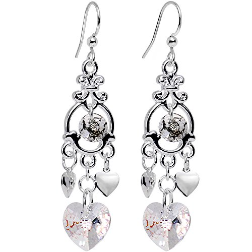 Swarovski Framed Earrings - Body Candy Handcrafted Silver Plated Framed Hearts Dangle Earrings Created with Swarovski Crystals