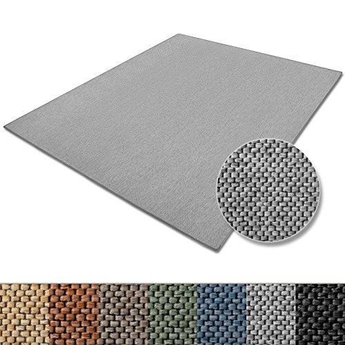 Teppich Sabang | viele Farben und Größen | Flachgewebe, Sisaloptik | Qualitätsprodukt aus Deutschland | GUT Siegel | für Wohnzimmer, Kinderzimmer, Flur etc. (silber, 80x150cm)