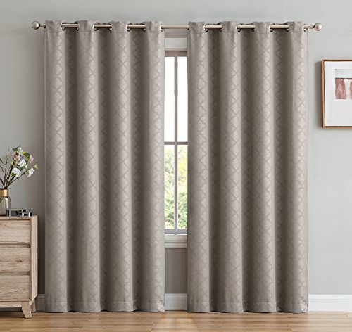 HLC.ME Moroccan Lattice Woven Thermal Insulated Room Darkening Blackout Window Panels Drapery Curtains for Bedroom - 52