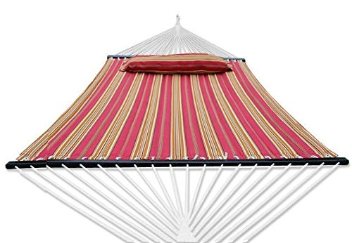 ZENY New Portable Cotton Hammock Quilted Fabric with Pillow Double Size Spreader Bar Heavy Duty Outdoor Camping w/Detachable Pillow, Suitable for 12FT Hammock Stand (red Stripe)