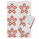 Game Tea Towels Rock, Paper, Scissor, Lizard, Spock (Red) by Studiofibonacci Set of 2 Linen Cotton Tea Towels