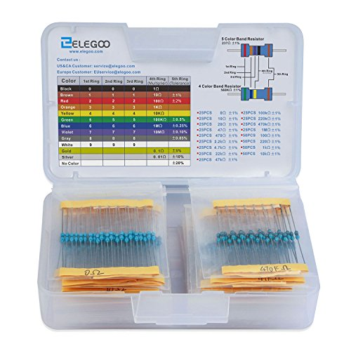 - ELEGOO 17 Values 1% Resistor Kit Assortment, 0 Ohm-1M Ohm (Pack of 525) RoHS Compliant for Arduino, Respberry Pi Projects